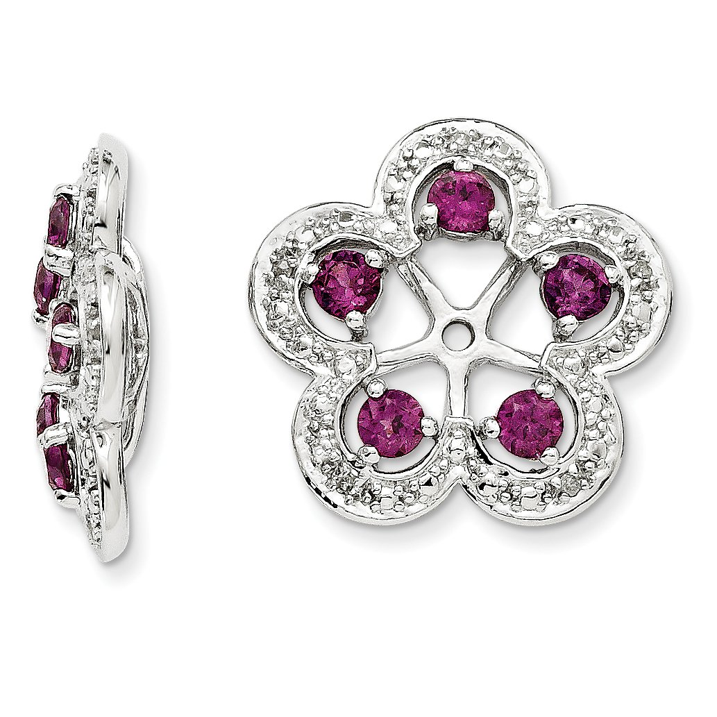 ICE CARATS 925 Sterling Silver Diamond Rhodolite Red Garnet Earrings Jacket Birthstone June Fine Jewelry Gift Set For Women Heart