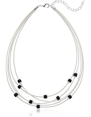 5558ab005a0 Napier Women's Silver Jet 16in Multi Row Collar Necklace