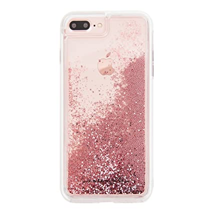 Case,Mate iPhone 8 Plus Case , WATERFALL , Cascading Liquid Glitter ,  Protective Design for Apple iPhone 8 Plus , Rose Gold