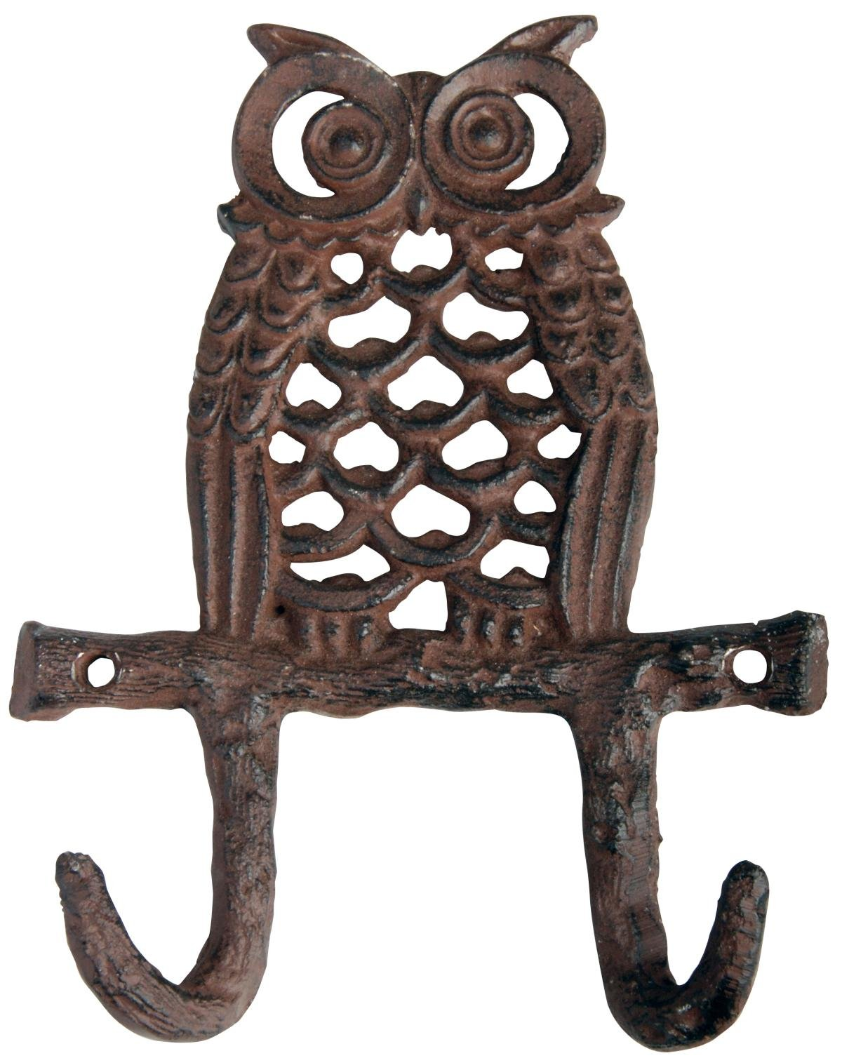 ABC Products'' - Primitive Heavy Cast Iron - Owl With Two Hooks - Owl Setting On a Tree Branch - Tree Branch Design Hooks (Wall Hung - Antique Rustic Bronze Finish - Body Designed With Widows)