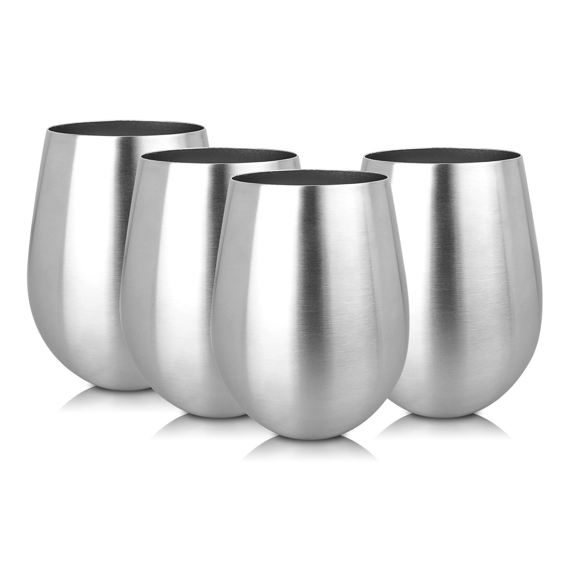 Kangora Stainless-Steel Stemless Wine Glass Cups (18oz), Ergonomic Design Glasses | Host Parties or Red and White Tastings | Brushed Finish | Indoor and Outdoor Use (4-PACK) by KANGORA