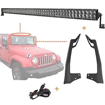 71MdkZ%2BOERL._SY355_ amazon com 4d light bar kit, powlab 52 inch led light bar 300w 4d HID Flood Lights at crackthecode.co