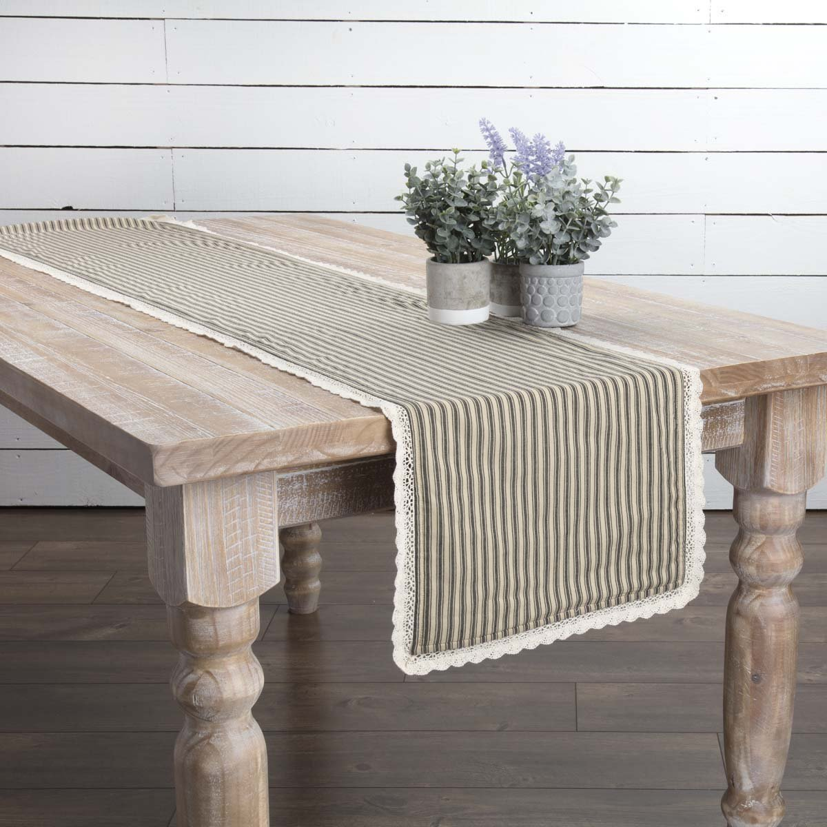 13 x 36 Red VHC Brands Classic Country Farmhouse Tabletop /& Kitchen Kendra Stripe White Runner
