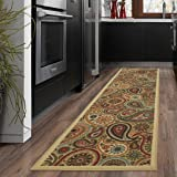 """Ottohome Collection Beige Contemporary Paisley Design Modern Runner Rug With Non-Skid (Non-Slip) Rubber Backing (20""""X59"""") Kitchen and Bathroom Runner Rug"""