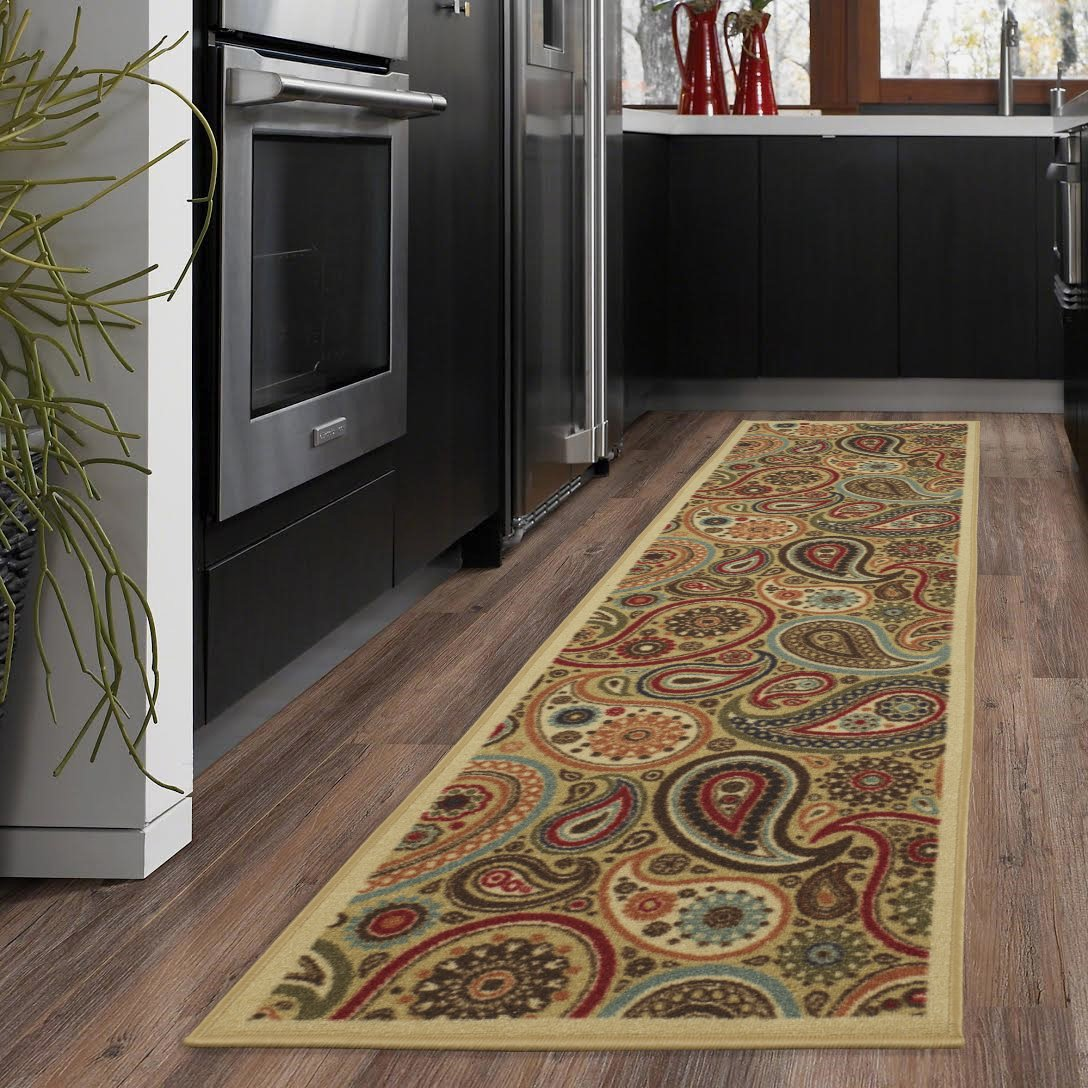 "Ottomanson Ottohome Collection Beige Contemporary Paisley Design Modern Skid (Non-Slip) Rubber Backing (20""X59"") Kitchen and Bathroom Runner Area Rug, 20"" x 59"""