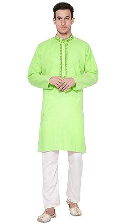 37a9c50e5fc6 Amazon.com  Cotton Kurta Pajama for Men Long Sleeve Shirt Pyjama Set Indian  Evening Party Wear  Clothing