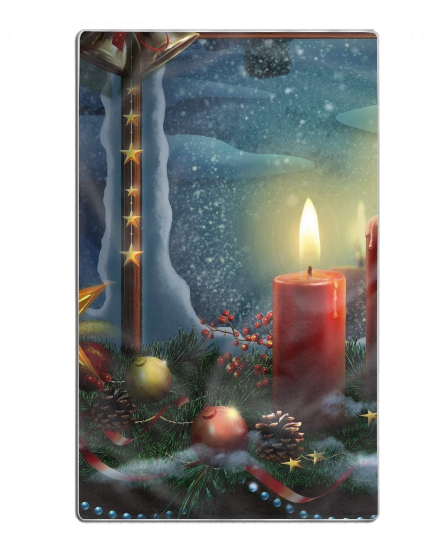 FGNZ Holiday Christmas Window Candle Ornaments Snow Star Custom Luxury Bath Towel for Beach, Spa, Pool, Bath, Gym 31.5 by 51 Inch