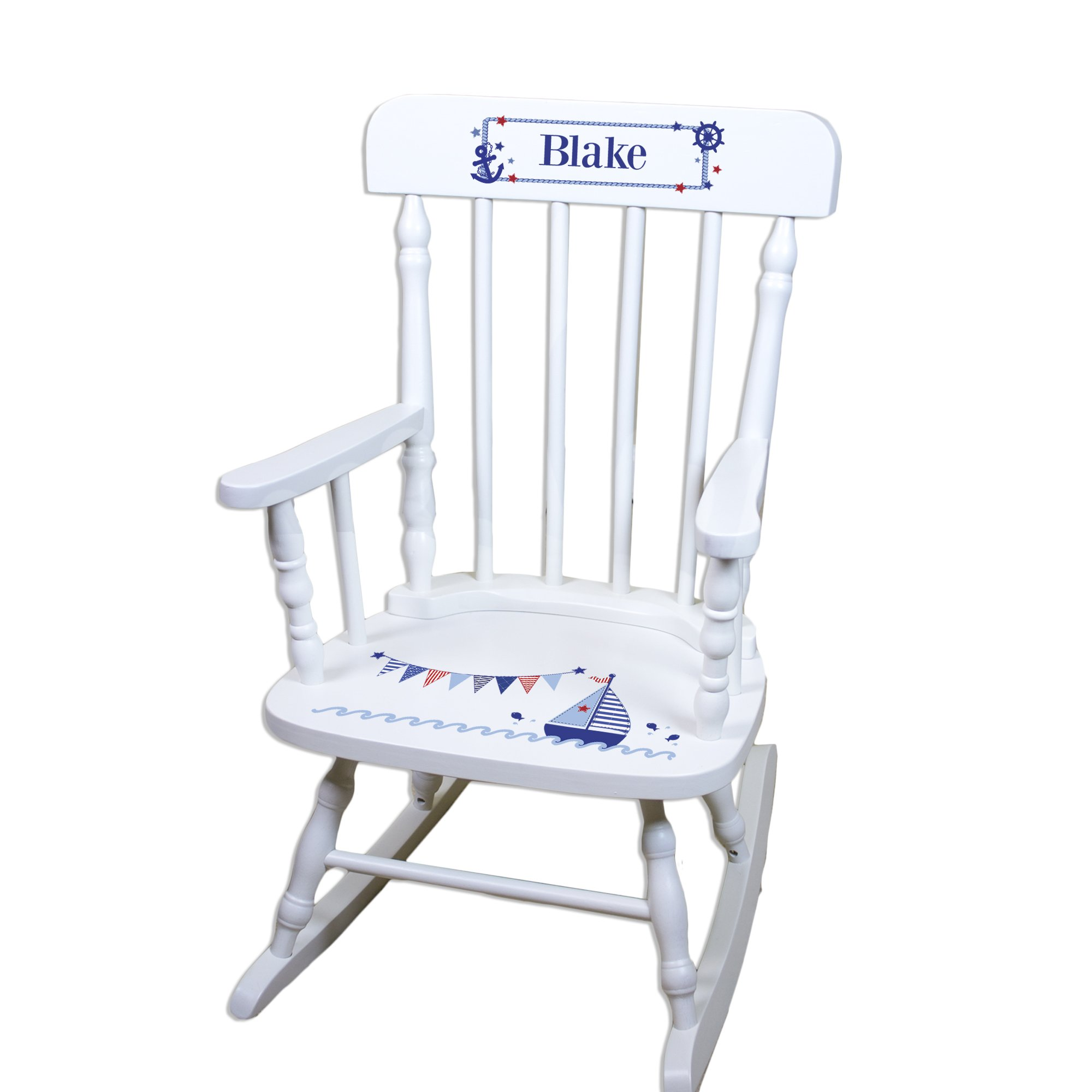 Children's Personalized White Sailboat Rocking Chair