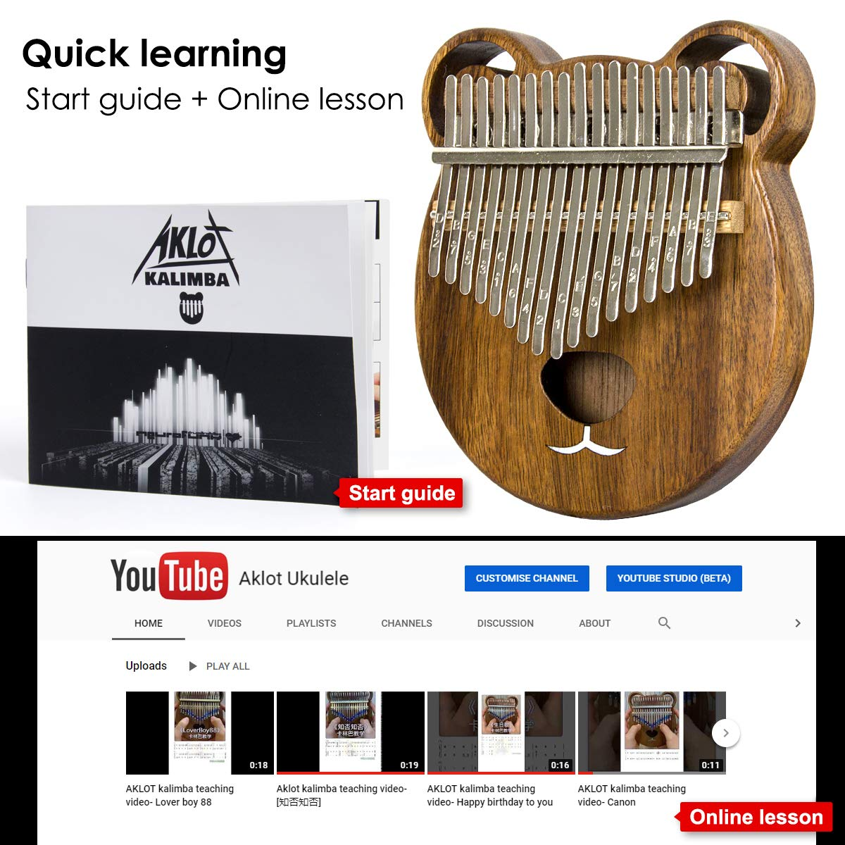 Kalimba 17 Keys Thumb Piano Solid Wood Finger Piano Start Kits African Instrument with Protective Case Tuning Hammer Study Booklet Cleaning Cloth From AKLOT by AKLOT (Image #5)