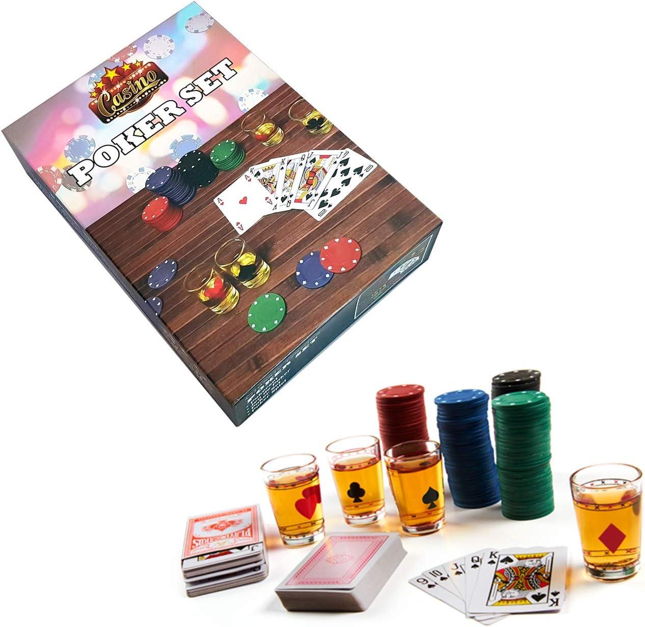 Set de Poker Casino con chupitos. Juega con chupitos al póker. Contiene 120 fichas, 4 Vasos de chupito y 2 Barajas de Cartas: Amazon.es: Juguetes y juegos