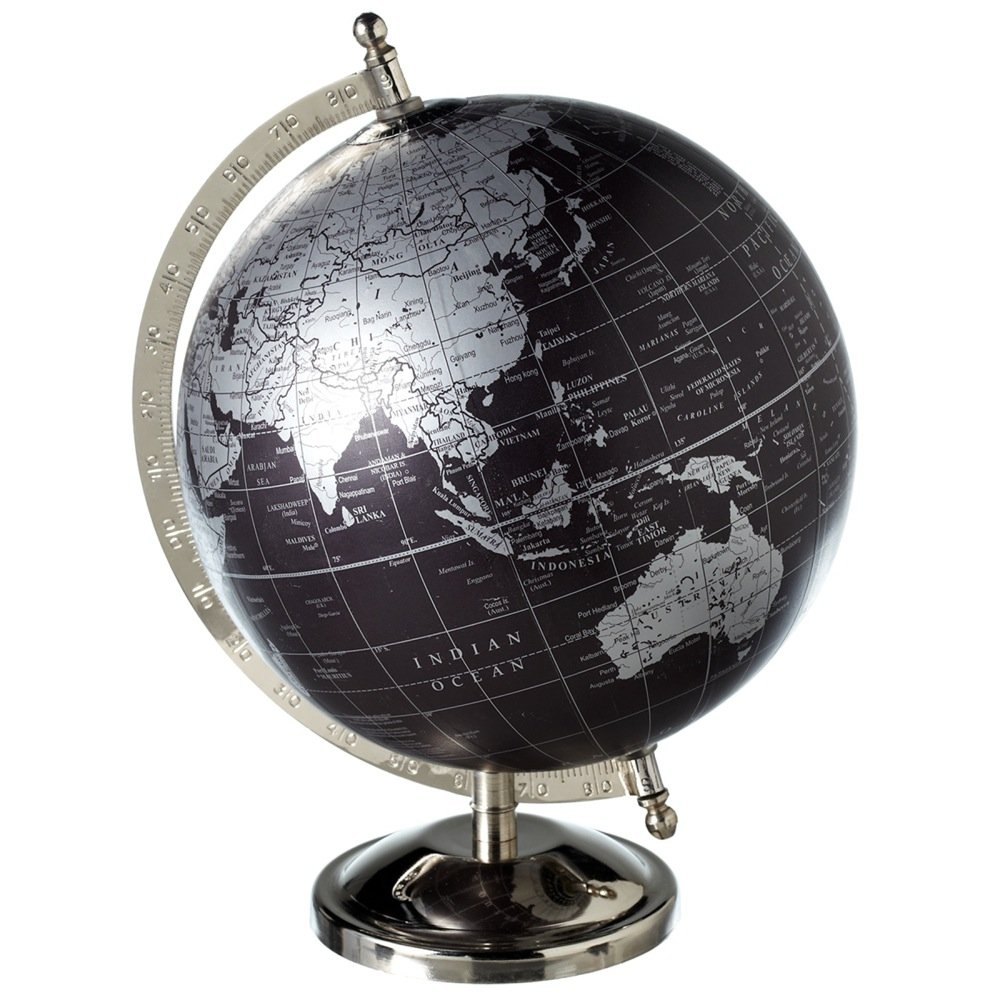 Midwest CBK Black and Silver World Globe with Silver Stand 8 inch