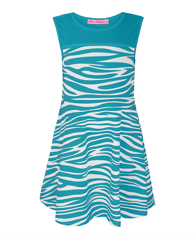 Amazon.com: Girls Zebra Print Skater Dress Kids Sleeveless Top Party ...