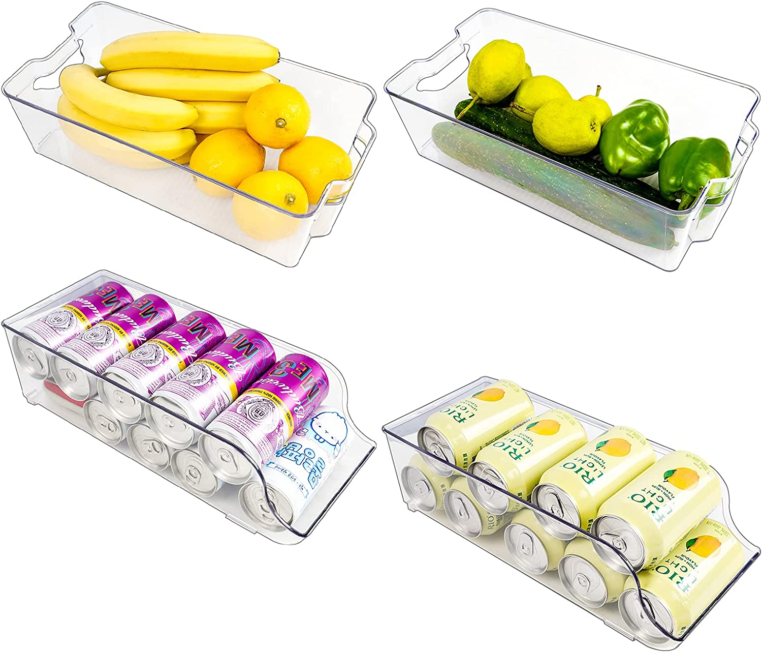 [2+2 Pack] Puricon Clear Refrigerator Organizer Bins & Pop Soda Can Dispenser Beverage Holder for Fridge, Clear Plastic Food Storage Containers for Pantry, Freeze, Kitchen, Cabinets, Countertops