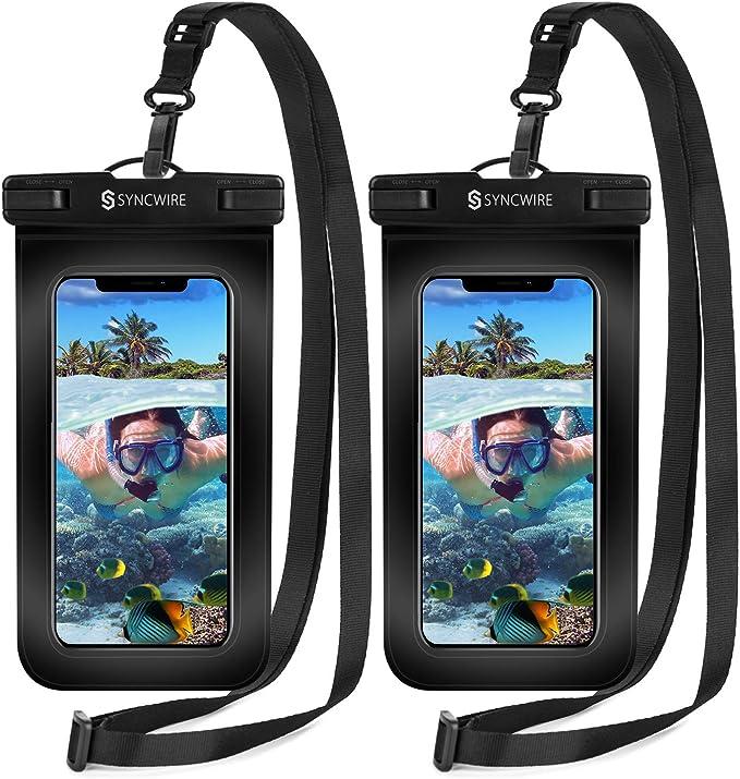 Syncwire Funda Impermeable Universal, 2 Unidades Bolsa para móvil estanca a Prueba de Agua IPX8 para iPhone 12 Pro XS MAX XR XS X 8 7 6 Plus se 5s, ...