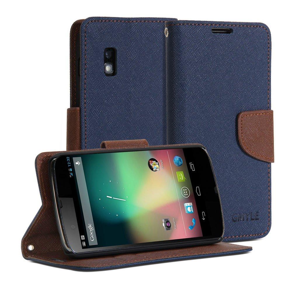 huge discount c2078 66eb2 GMYLE (TM) Wallet Case Classic for LG Google Nexus 4 E960 - Navy ...