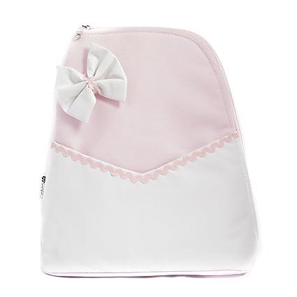 Mochila bolso carrito bebe Polipiel - Color rosa-blanco