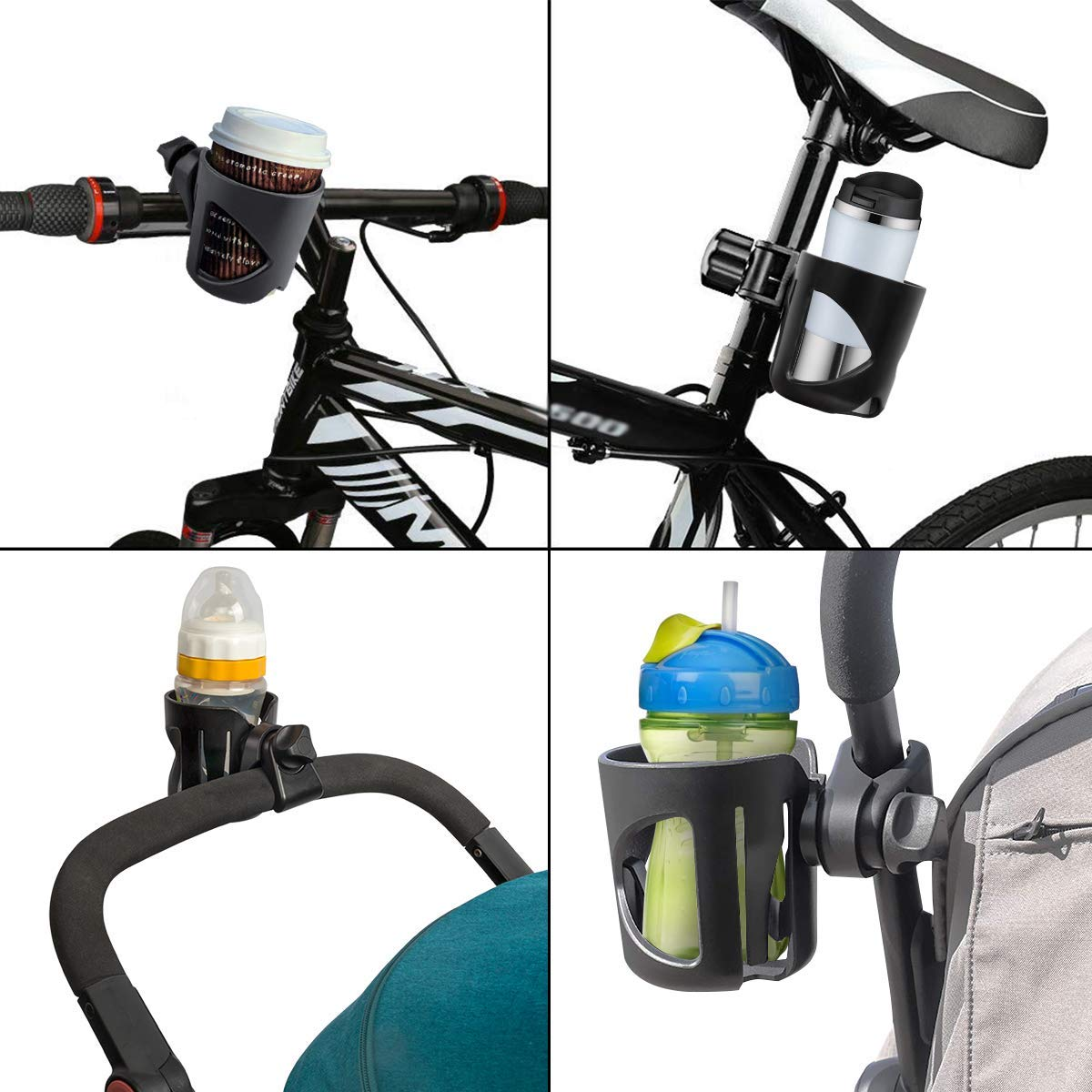 Wheelchair 360 Degrees Rotation Anti-Slip and Adjustable Universal Cup Holder for Pushchair Stroller Cup Holder with Hook Bike