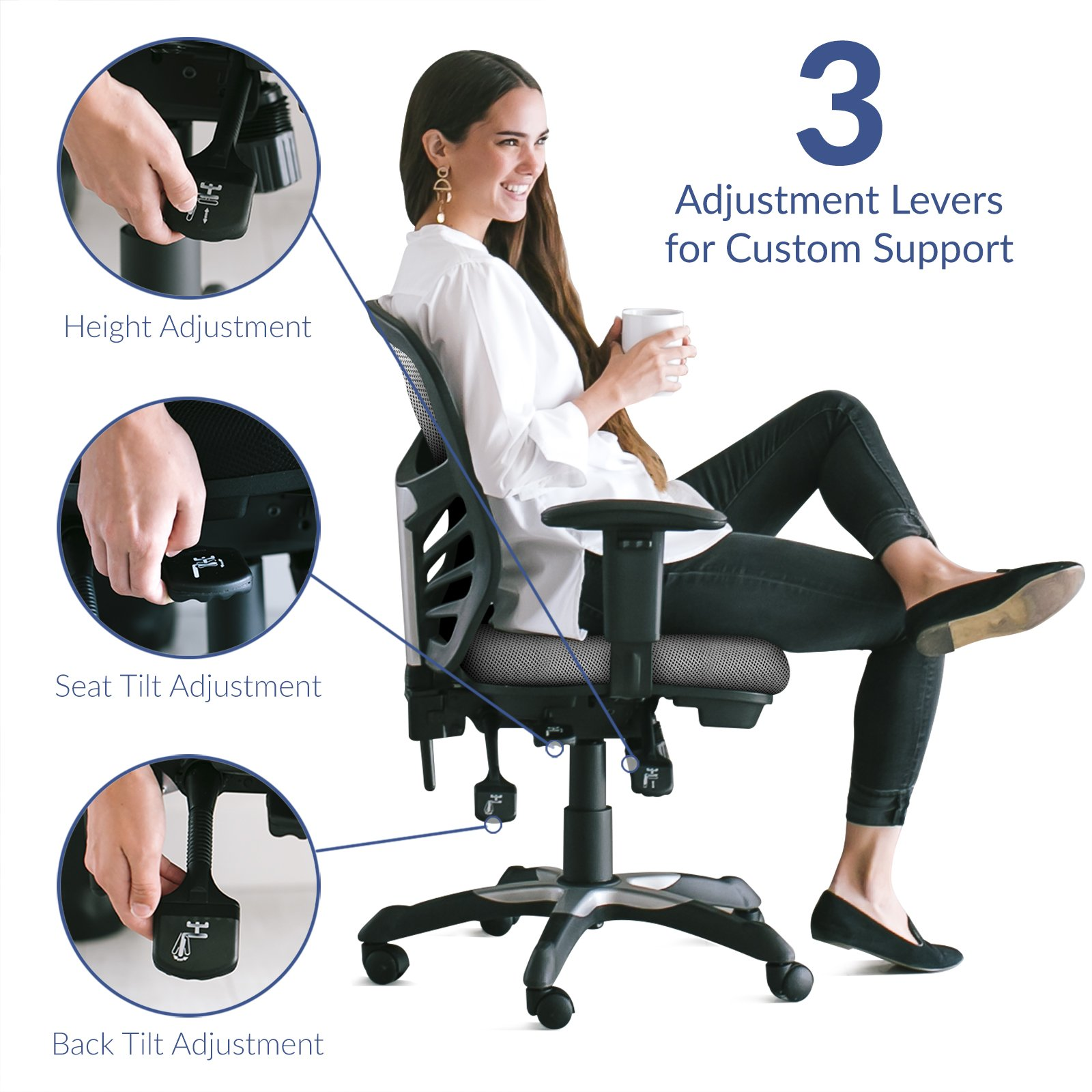 Modway Articulate Ergonomic Mesh Office Chair in Gray by Modway (Image #5)