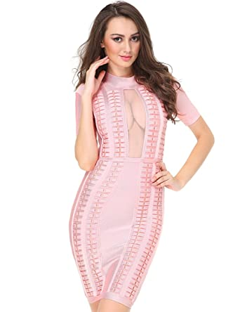 Miss Water Bandage-Dress-Pink Prom Dress Size 10 Hot Cross See Through Bust