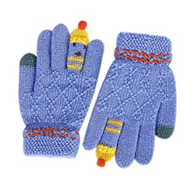 Gants d'hiver étudiant / Gants de dessin animé pour enfants / Bleu, Gants de laine tricotés