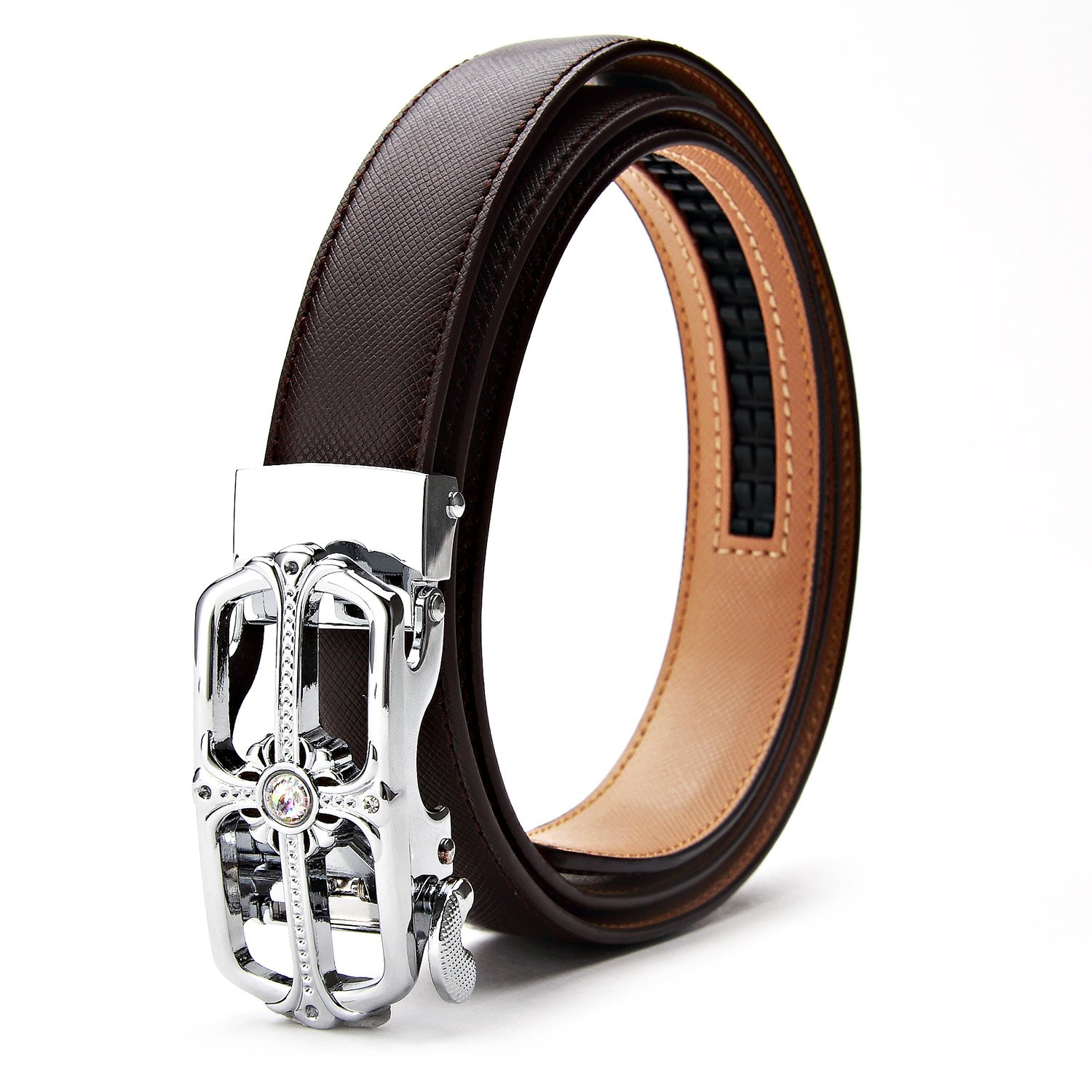 XIANGUO Women's Belt Genuine Leather Dress Belts with Automatic Buckle (Dark Brown)