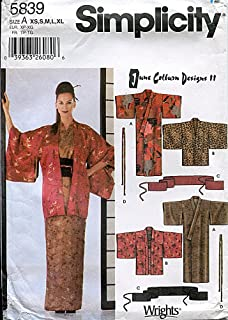 product image for Simplicity Pattern 5839 June Colburn Designs II Misses' Kimono, Haori, Obi, Sash and Tie, Size A (XS-XL)