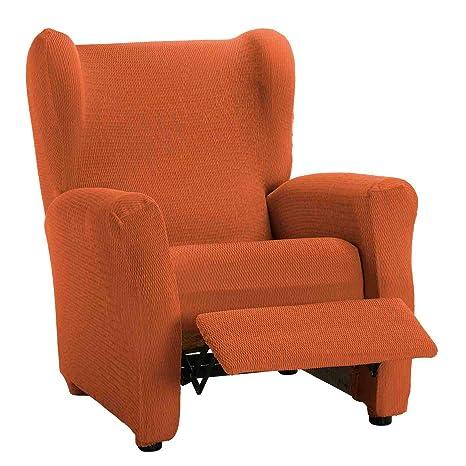 Funda de Sillón Relax Elástica Modelo Libia, Color Naranja, Medida 70-90cm de Respaldo