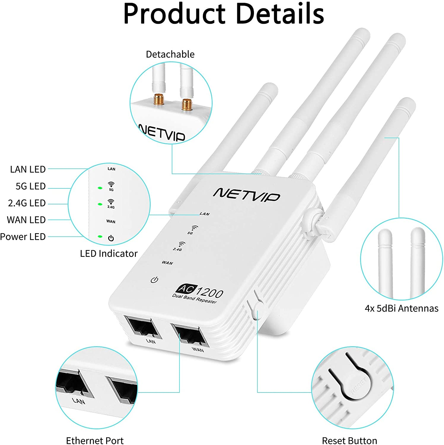 4 High Gain Antennas NETVIP 1200Mbps WiFi Extender Wi-Fi Internet Signal Booster Extending WiFi Whole Home and Garden Easy Setup 2.4 /& 5G Dual Band Wireless Repeater Range Amplifier for Router//Modem