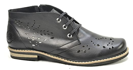 Ogswideshoes Angelina Black Perforated Leather Extra Wide Fit