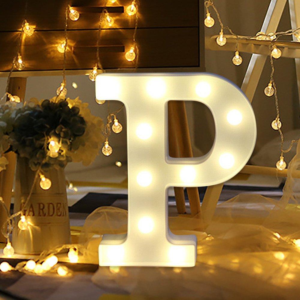 22x18x4.5cm f/ête et d/écoration de vacances Plastique Wuayi Lettre de lalphabet d/écoratifs allumer lettres A-Z debout /à suspendre Blanc chaud Night Lights pour lint/érieur Club B1 Lampes LED