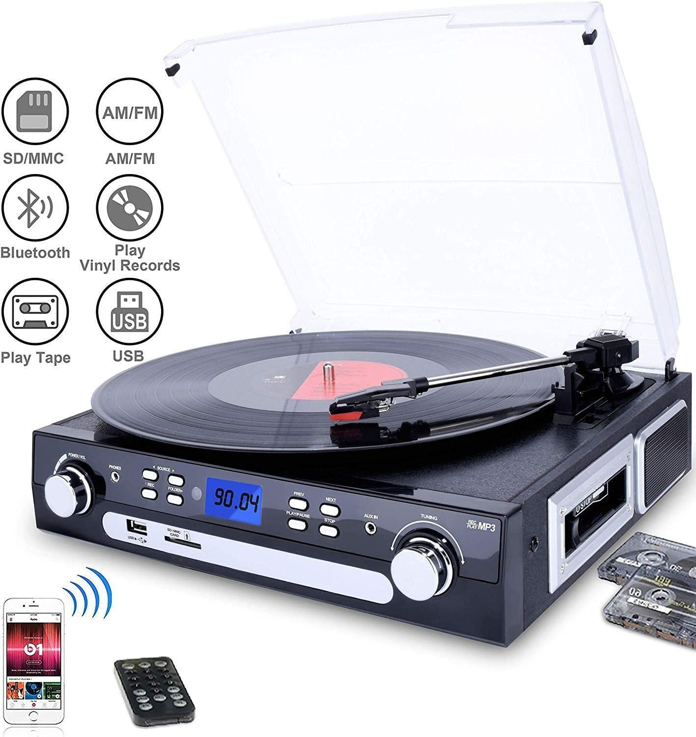 DIGITNOW Bluetooth Record Player with Stereo Speakers, Turntable for Vinyl to MP3 with Cassette Play, AM/FM Radio, Remote Control, USB/SD Encoding, 3.5mm Music Output Jack