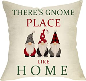 Softxpp There's Gnome Place Like Home Throw Pillow Cover, Christmas Decorative Buffalo Plaid Cushion Case Winter Holiday Outdoor Xmas Decorations Farmhouse Pillowcase Decor Sign for Home Couch 18 x 18