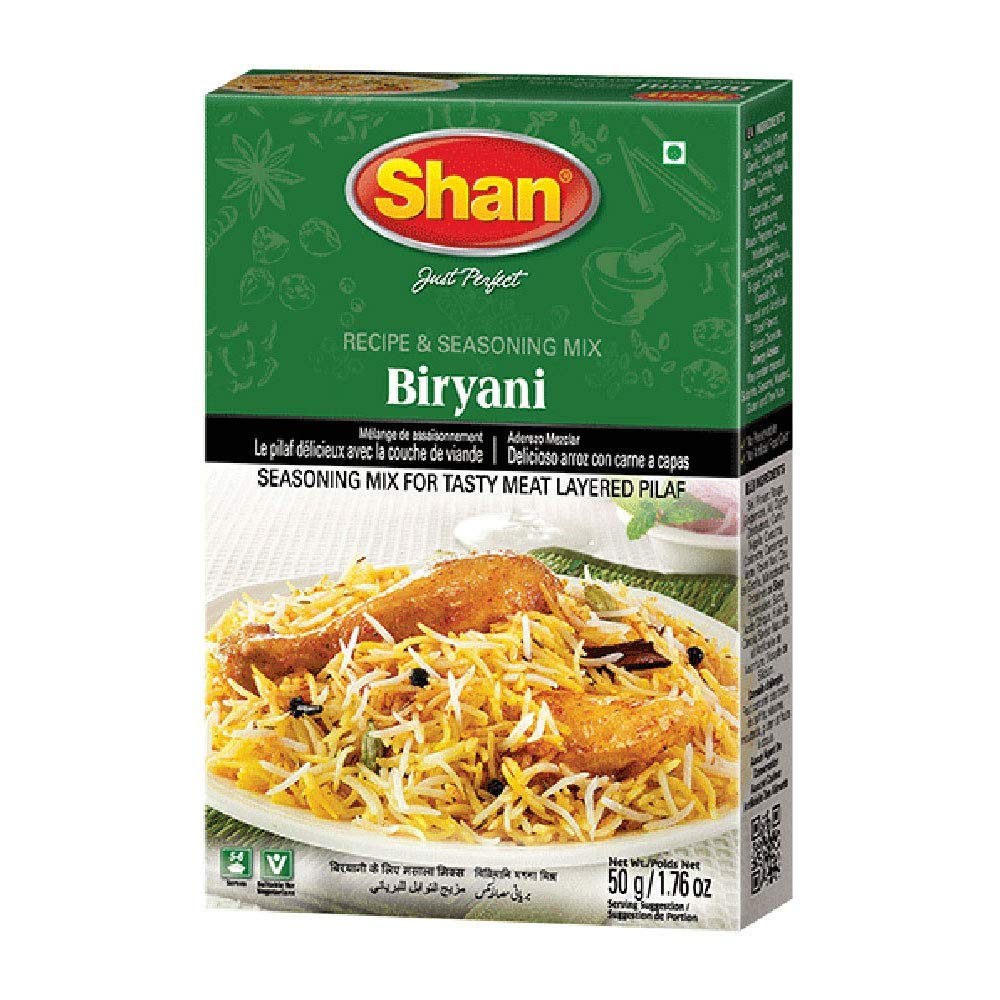 Shan Biryani Recipe and Seasoning Mix 1.76 oz (50g) - Spice Powder for Tasty and Spicy Meat Layered Pilaf - Suitable for Vegetarians - Airtight Bag in a Box