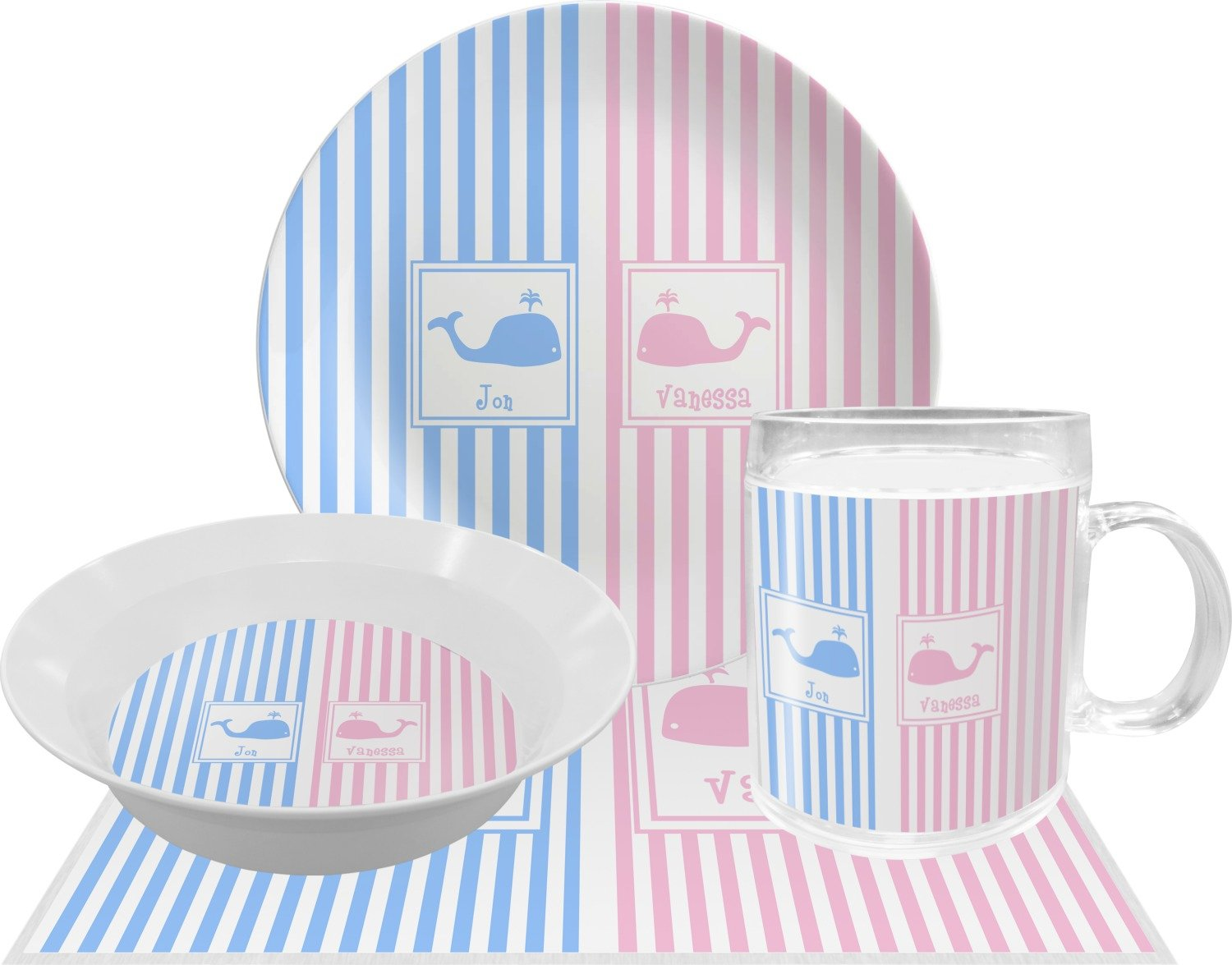 Striped w/Whales Dinner Set - 4 Pc (Personalized)