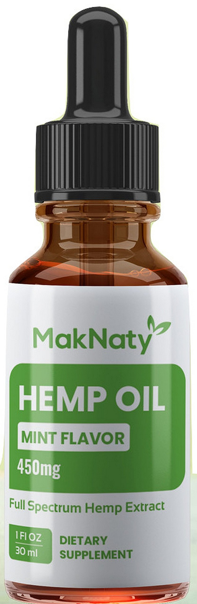 Natural Organic Hemp Seed Extract Oil 450 mg 1 Fl oz.(30ml) Mint Flavor Full Spectrum Rich in Omega 3,6 & 9 Fatty Acids Anti Inflammation by MakNaty
