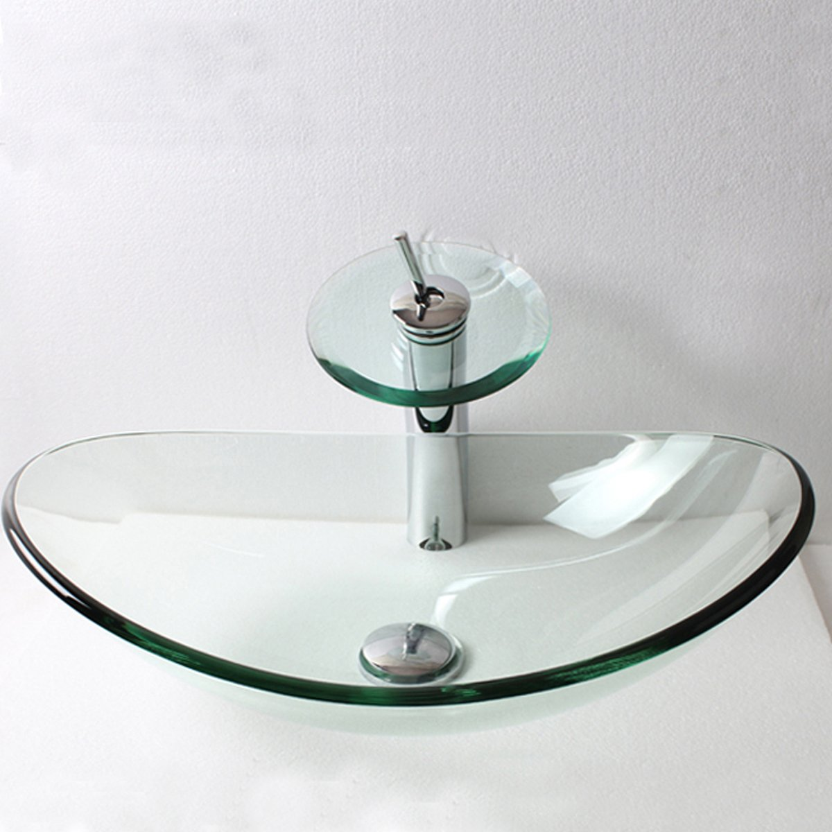 Walcut Transparent Glass Vessel Sink With Faucet And Pop Up Drain Set (Oval Sink With Pull Faucet) free shipping