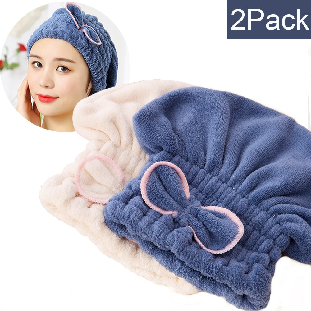 SweetCat 2PC Microfiber Hair Drying Caps, Extrame Soft & Ultra Absorbent, Fast Drying Hair Turban Wrap Towels Shower Cap for Girls and Women (Blue+Beige) by SweetCat