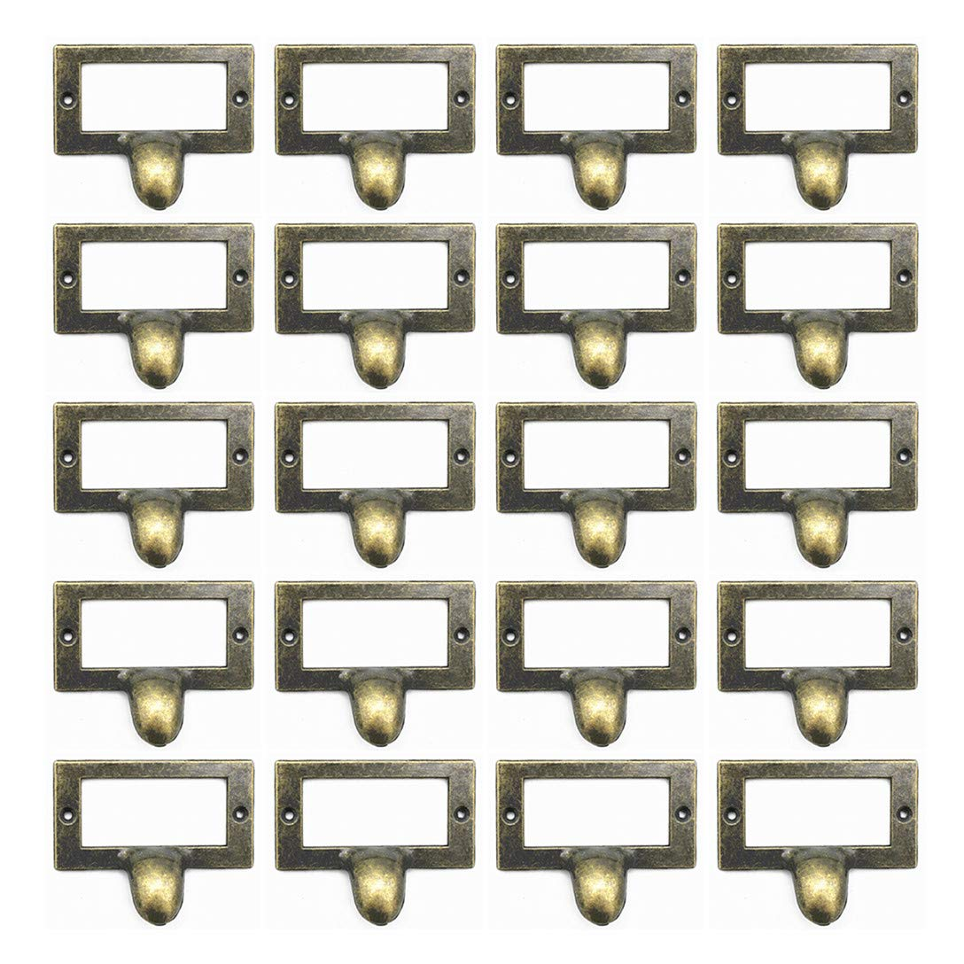 WEICHUAN 20 Pieces 58mm46mm Card Holder Drawer Pull/Label Frames Card/Label Holder/Tag Pull/Cabinet Frame Handle/File Name Card Holder - Metal Art Antique Bronze Tone with screws