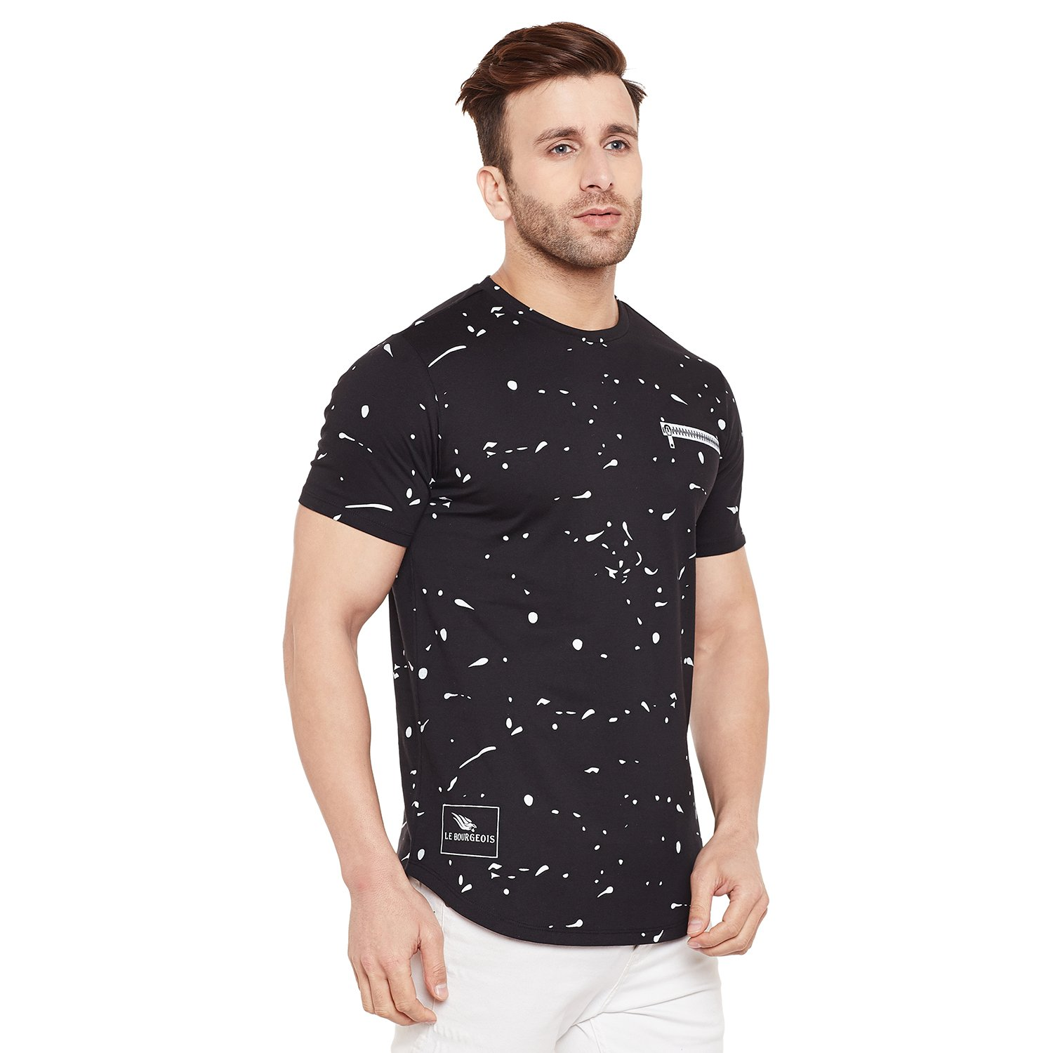 61bf4d638b2c LE BOURGEOIS Paint Splatter Black T-Shirt: Amazon.in: Clothing & Accessories