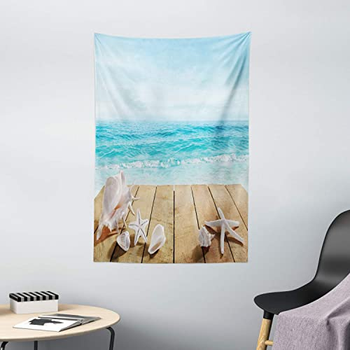 Ambesonne Seashells Tapestry, Wooden Boardwald with Seashells Sunshine Vacations Beach Theme, Wall Hanging for Bedroom Living Room Dorm Decor, 40 X 60 , Blue Beige