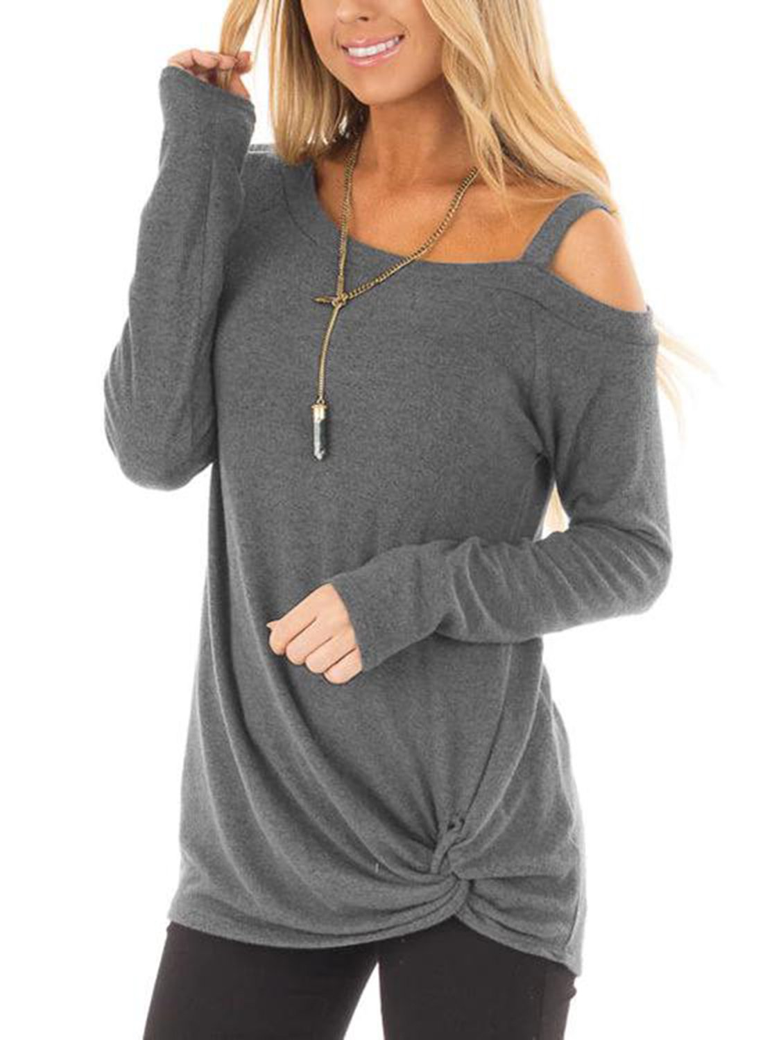 66937cd38 YOINS Women Off Shoulder Long Sleeves T-Shirts Cold Shoulder Plain ...