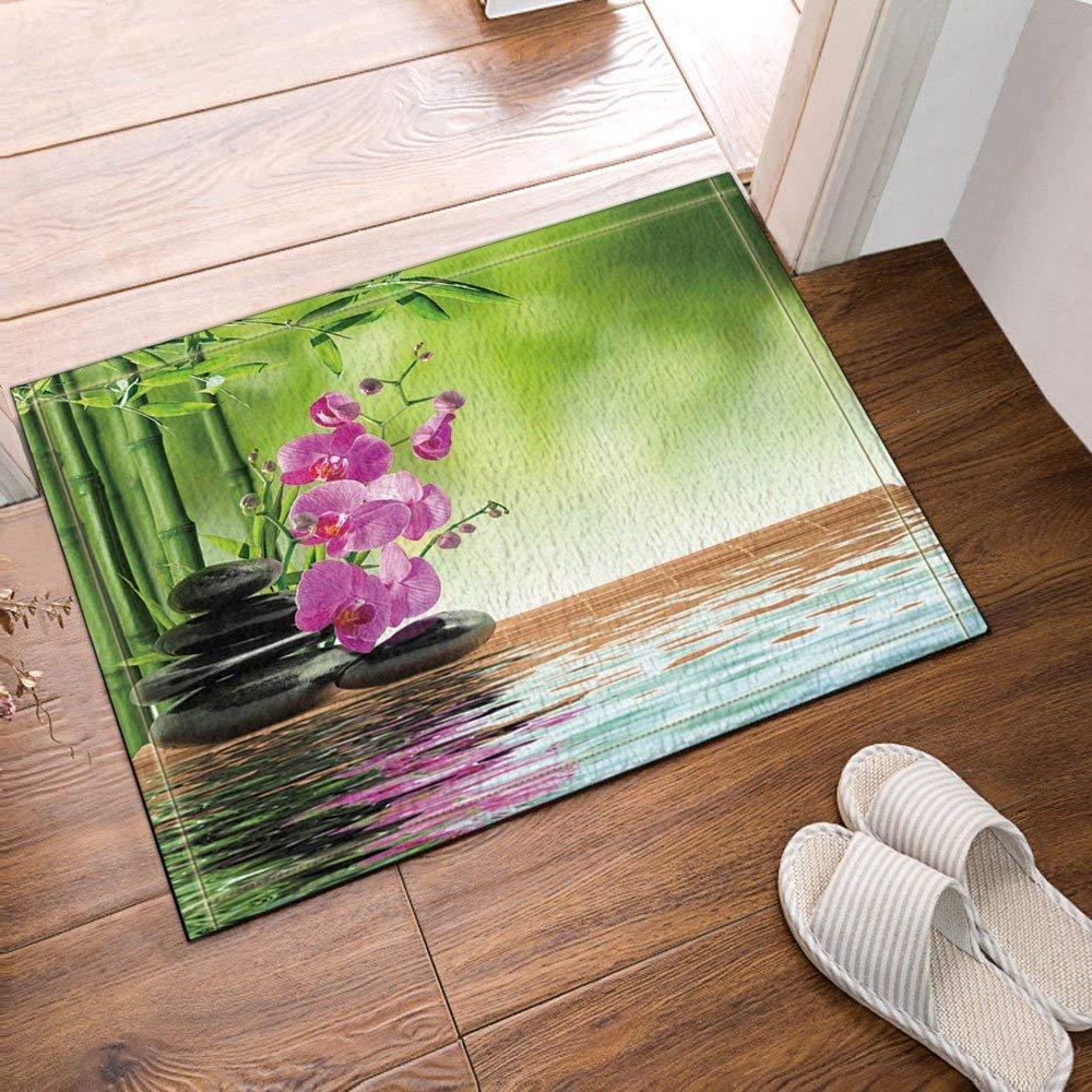 Spa Decor Zen Stones Aromatic Orchids Blooms Treatment Vacation Bath Rug Non-Slip Floor Entryways Outdoor Indoor Front Door Mat,15.7X23.6in Bath Mat Bathroom Rugs