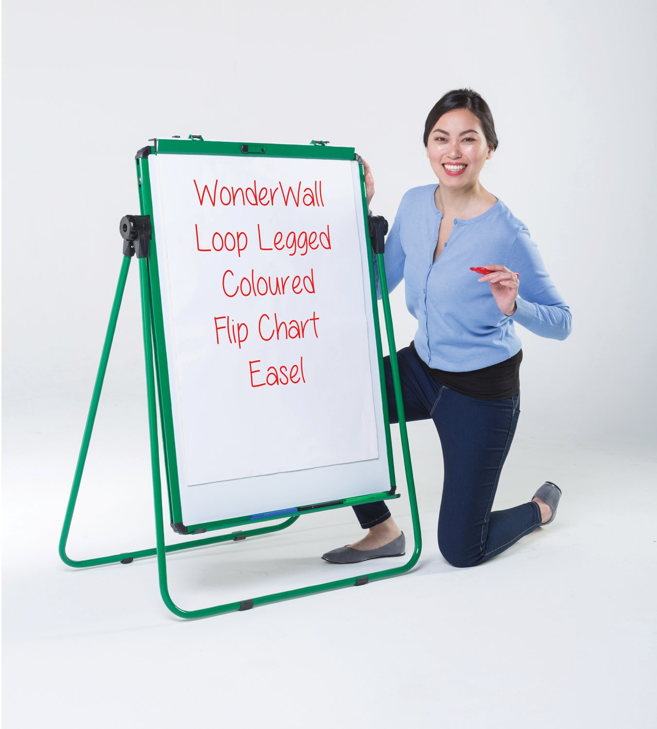 Wonderwall Double-Sided MagneticTilting Flipchart Easel - Black Without Carry Bag Black