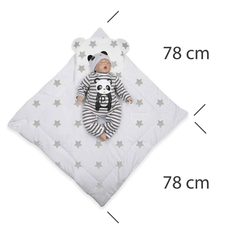 BlueberryShop Fleece Minky Wickeldecke mit Kissen 78 x 78 cm Grau F/ür Kinder von 0 bis 3 Monaten Perfekt als Geschenk f/ür Baby Shower Schlafsack f/ür Neugeborene