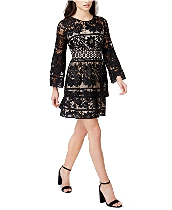 Kensie Womens Lace Tiered Cocktail Dress Black L At Amazon Women S