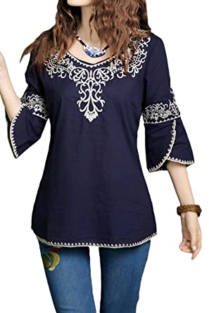 Asher Bell Sleeve Embroidered Peasant Tops Cotton Mexican Blouse (One Size,  Navy)