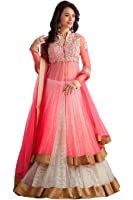 Jashvi Creation Women's Unstitched Lehenga Choli(JC__lehengha_504_Pink&White_Free Size)