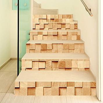 qingmo 3d Escaleras CalcomaníA Cubo De Madera Etiqueta De La Pared Impermeable Autoadhesivo DecoracióN Para El Hogar Diy Mural Vinilo Adhesivos Para Escaleras 18cmx100cm 6pcs: Amazon.es: Bricolaje y herramientas