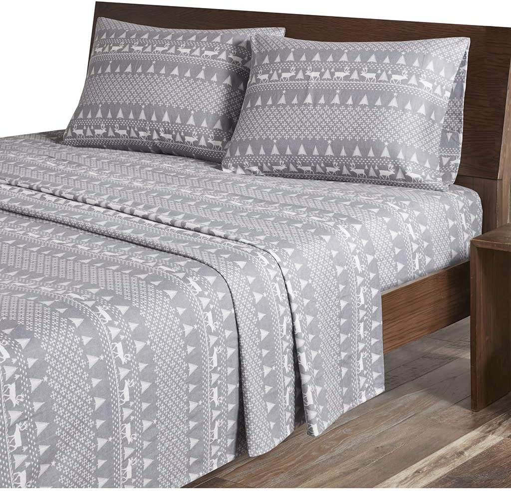 Amazon Com Woolrich Flannel Cotton Sheet Set Grey Winter Frost Queen Home Kitchen