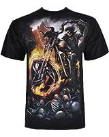 Spirale-wheels t-shirt pour homme biker of fire motif imprimé recto/verso